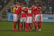 Barnsley huddle up during the Sky Bet League 1 match between Coventry City and Barnsley at the Ricoh Arena, Coventry, England on 3 November 2015. Photo by Simon Davies.