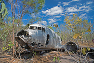 Wreck of a Douglas C-47 Skytrain, lying on the edge of a salt pan, Vansittart Bay, Western Australia.  The C-47 (known as the Dakota by the RAF) was a military transport version of the DC-3 passenger aircraft.  The pilot became lost and had to make an emergency landing on a salt pan.  This happened in February 1946.  The crew and passengers were rescued several days later.