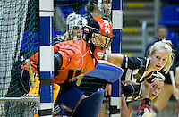 ROTTERDAM -  Amsyerdam keeper Maria Verschoor tijdens de  finale zaalhockey om het Nederlands kampioenschap tussen de  vrouwen  van Amsterdam en MOP.  Amsterdam wint de finale en dus het Kampioenschap.ANP KOEN SUYK