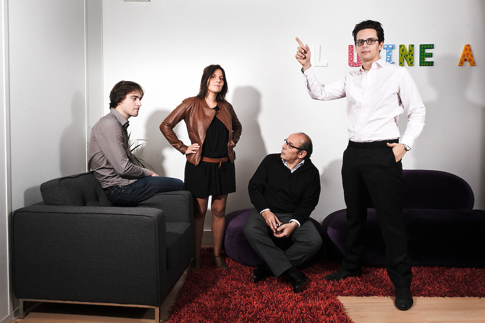 PARIS, FRANCE. NOVEMBER 10, 2011. Emilie Gobin, co-founder of L'Usine A Design with her associates: Vincent, Toni and Charles in their office. Photo: Antoine Doyen