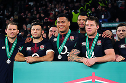 Nathan Hughes of England is all smiles after the match - Mandatory byline: Patrick Khachfe/JMP - 07966 386802 - 19/11/2016 - RUGBY UNION - Twickenham Stadium - London, England - England v Fiji - Old Mutual Wealth Series.