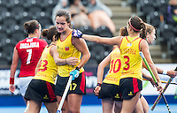 LONDON -  Unibet Eurohockey Championships 2015 in  London. Spain v Poland (10-0) . Lola Riera (17) has scored for Spain  WSP Copyright  KOEN SUYK