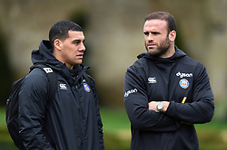 Josh Matavesi and Jamie Roberts look on - Mandatory byline: Patrick Khachfe/JMP - 07966 386802 - 16/01/2020 - RUGBY UNION - Farleigh House - Bath, England - Bath Rugby Training Session