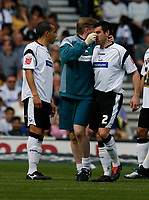 Photo: Steve Bond.<br />Derby County v Coventry City. Coca Cola Championship. 09/04/2007. Marc Edworthy recieves treatment for a damaged nose
