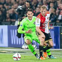 ROTTERDAM - Feyenoord - Ajax , Voetbal , KNVB Beker , Seizoen 2015/2016 , Stadion de Kuip , 25-10-2015 , Speler van Feyenoord Dirk Kuyt (r) in duel met Ajax speler Nemanja Gudelj (l)
