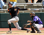 Cowboy Jordy Mercer drives in the go ahead run, braking a 4-4 tie in the top of the tenth inning against Kansas State.  Oklahoma State defeated K-State 9-4 in 10 innings at Tointon Stadium in Manhattan, Kansas, April 30, 2006.