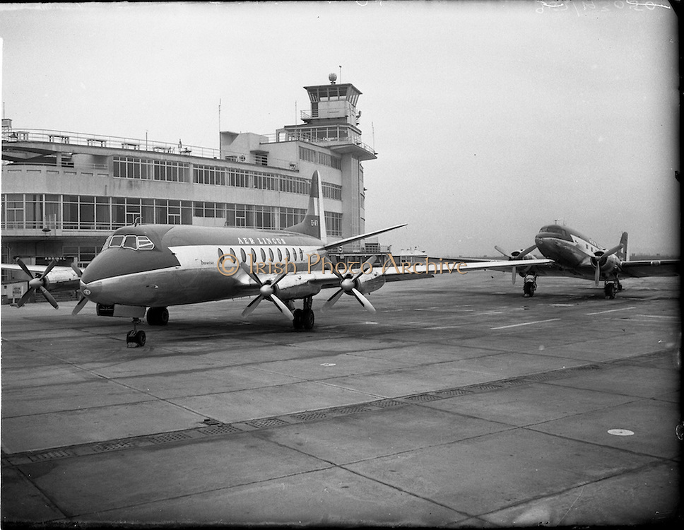 "21/01/1956<br /> 01/21/1956<br /> 21st January 1956<br /> Aer Lingus special - aircraft with new markings, the Vickers Viscount 700 ""Breandán"" and the DC3 ""Colmcille"", in front of the terminal at Dublin Airport."