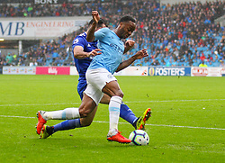 September 22, 2018 - Cardiff City, England, United Kingdom - Raheem Sterling of Manchester City is tackled by Sean Morrison of Cardiff City during the Premier League match between Cardiff City and Manchester City at Cardiff City Stadium,  Cardiff, England on 22 Sept 2018. (Credit Image: © Action Foto Sport/NurPhoto/ZUMA Press)