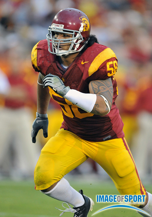 Nov 1, 2008; Los Angeles, CA, USA; Southern California Trojans linebacker Rey Maualuga (58) during 56-0 victory over the Washington Huskies at the Los Angeles Memorial Coliseum.