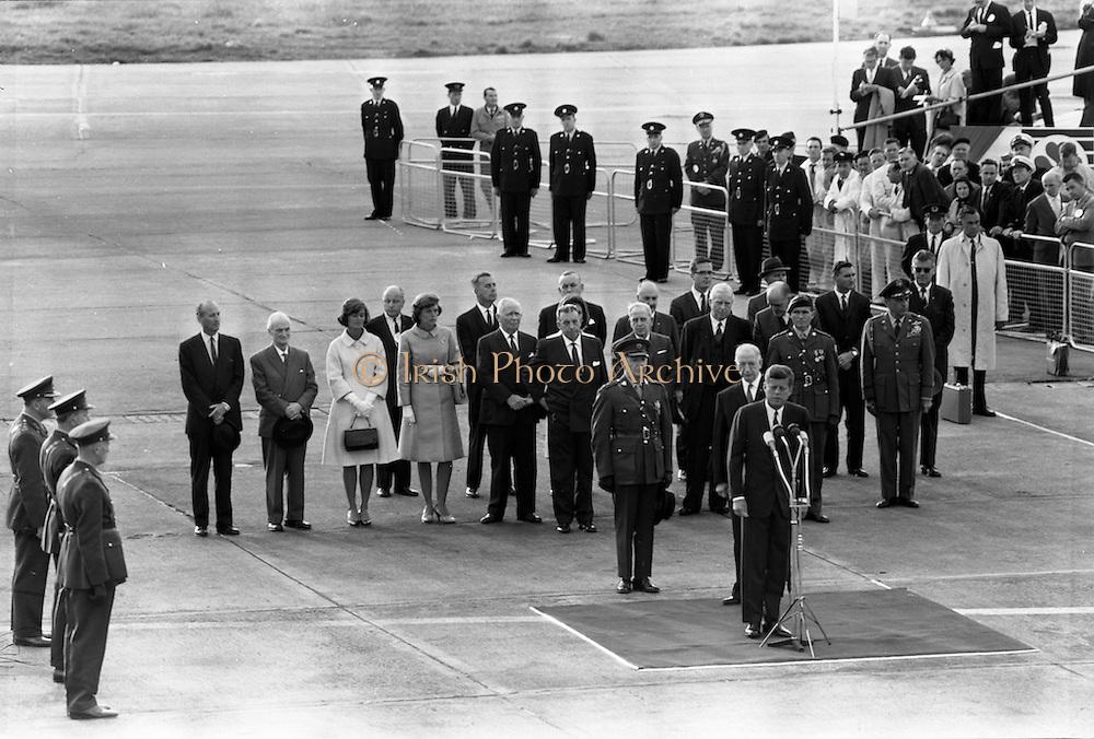 26/06/1963 - President John F. Kennedy lands at Dublin Airport where he was was greeted by President Éamon de Valera and Taoiseach Seán Lemass.