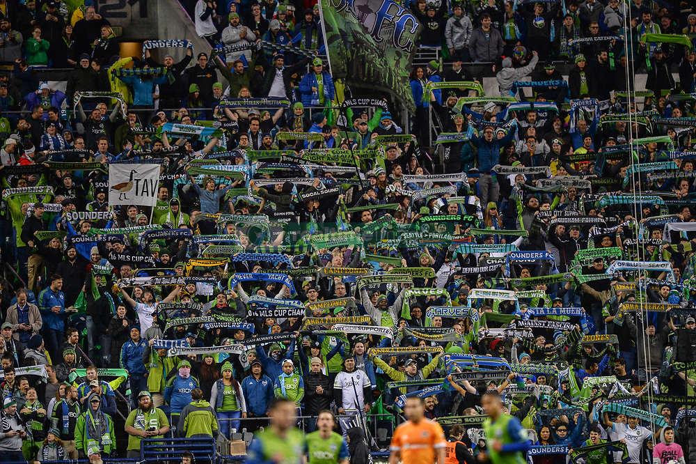 November 30, 2017 - Seattle, Washington, U.S - Soccer 2017: Scarves up for the Emeral City Supporters section as the Houston Dynamo play the Seattle Sounders in the 2nd leg of the MLS Western Conference Finals match at Century Link Field in Seattle, WA. (Credit Image: © Jeff Halstead via ZUMA Wire)