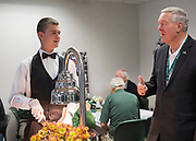 Dr. Duane Nellis talks with Neil Ryan, a sophomore studying geology and Geographic Information Science, Sept. 2, 2017 in the Presidents box at Peden Stadium. Ryan said Dr. Nellis, who had also studied geology, gave him some tips for the field.