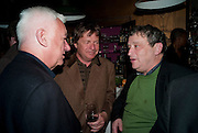 MICHAEL CRAIG-MARTIN; DANNY MOYNIHAN; NORMAN ROSENTHALL, Party to celebrate the composer Michael Nyman's exhibition and the Russian Anglo Arts festival (Anglomockba). Sketch. London. 27 April 2009