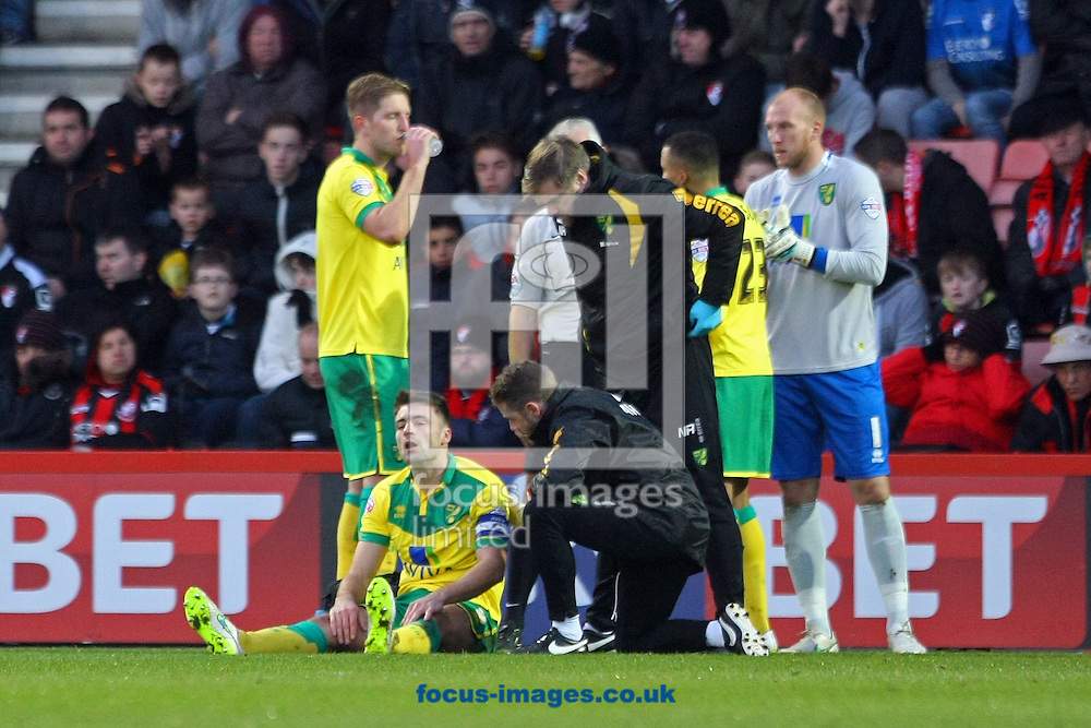 Russell Martin of Norwich requires treatment during the match at the Goldsands Stadium, Bournemouth<br /> Picture by Paul Chesterton/Focus Images Ltd +44 7904 640267<br /> 10/01/2015