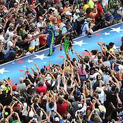 NASCAR drivers Casey Mears (l) and Danica Patrick are introduced prior to the 56th Annual NASCAR Daytona 500 race at Daytona International Speedway on Sunday, February 23, 2014 in Daytona Beach, Florida.  (AP Photo/Alex Menendez)
