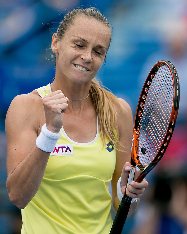 August 22, 2014, New Haven, CT:<br /> Magdalena Rybarikova reacts after defeating Camila Giorgi in the semi-finals on day eight of the 2014 Connecticut Open at the Yale University Tennis Center in New Haven, Connecticut Friday, August 22, 2014.<br /> (Photo by Billie Weiss/Connecticut Open)