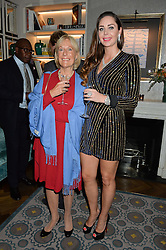 Left to right, PRINCESS OLGA ROMANOFF and NINA NAUSTDAL at a cocktail party hosted by Mrs Sonia Falcone and Mrs Kimberley Robson Chairman of Le Bal de la Riveria 2016 for the forthcoming Ball held at Flemings Hotel, Half Moon Street, London on 27th September 2016.