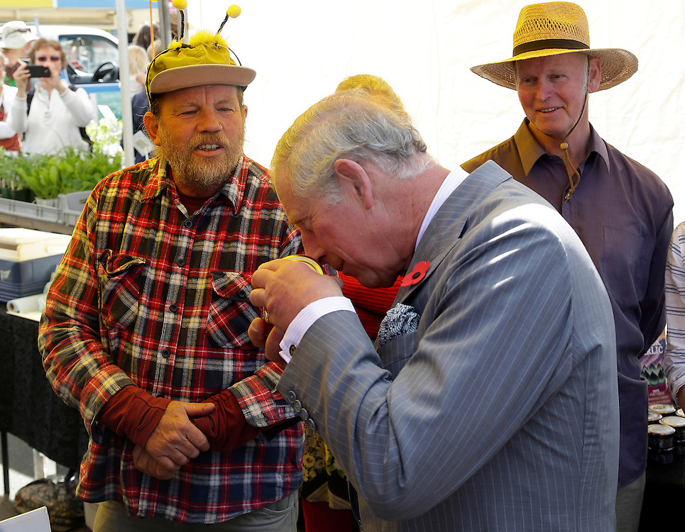 Prince Charles, Prince of Wales smells some honey during his public walkabout, Nelson, New Zealand, Saturday, November 07, 2015. SNPA / Reuters, Anthony Phelps **POOL**