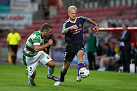 Football - UEFA Champions League 3rd Qualifying Round - The New Saint's vs. Anderlecht<br /> Anderlecht's Olivier Deschacht  powers past New Saint's Danny Holmes at the Racecourse Ground, Wrexham