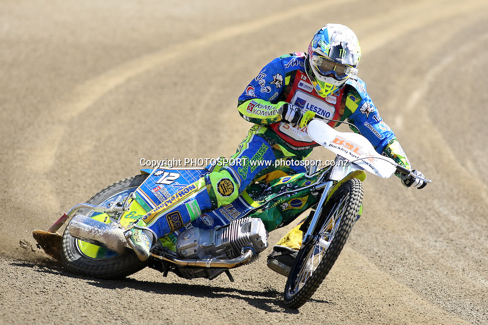 Antonio Lindback (Sweden) in action during practice session of the 2012 FIM New Zealand Speedway Grand Prix, Western Springs, Auckland, New Zealand. Thursday 29th March 2012. Photo: Wayne Drought / photosport.co.nz