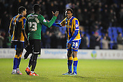 Jean-Louis Akpa Akpro of Shrewsbury Town and Reice Charles-Cook of Coventry City FC shake hands at the final whistle following the Sky Bet League 1 match between Shrewsbury Town and Coventry City at Greenhous Meadow, Shrewsbury, England on 8 March 2016. Photo by Mike Sheridan.