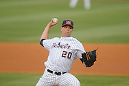 Ole Miss' Josh Laxer (20) pitches vs. Arkansas State at Oxford-University Stadium in Oxford, Miss. on Wednesday, March 27, 2013. Ole Miss won 10-4.