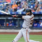 NEW YORK, NEW YORK - APRIL 30:  Brandon Crawford #35 of the San Francisco Giants batting during the New York Mets Vs San Francisco Giants MLB regular season game at Citi Field on April 30, 2016 in New York City. (Photo by Tim Clayton/Corbis via Getty Images)