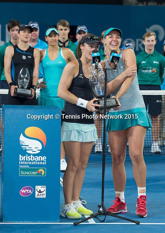 Martina Hingis, Sabine Lisicki, Siegerehrung,<br />  - Brisbane International 2015 - ATP 250 - WTA -  Queensland Tennis Centre - Brisbane - Queensland - Australia  - 10 January 2015. <br /> &copy; Tennis Photo Network