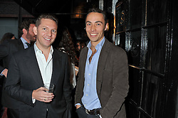 Left to right, NICK CANDY and JAMES MIDDLETON at the launch of the Johnnie Walker Blue Label Club held at The Scotch, Mason's Yard, London on 1st May 2012.