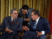 Brezhnev and Nixon talk during Brezhnev's June 1973 visit to Washington during the beginning of détente between the United States and the Soviet Union.