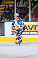 KELOWNA, CANADA - DECEMBER 30: Gage Quinney #20 of Kelowna Rockets skates with the puck against the Prince George Cougars on December 30, 2014 at Prospera Place in Kelowna, British Columbia, Canada.  (Photo by Marissa Baecker/Shoot the Breeze)  *** Local Caption *** Gage Quinney;