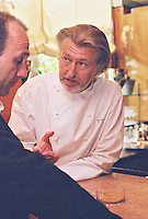 Chef Pierre Gagnaire in his kitchen in Paris