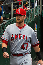 OAKLAND, CA - JUNE 17:  Jett Bandy #47 of the Los Angeles Angels of Anaheim enters the dugout before the game against the Oakland Athletics at the Oakland Coliseum on June 17, 2016 in Oakland, California. The Oakland Athletics defeated the Los Angeles Angels of Anaheim 3-2. (Photo by Jason O. Watson/Getty Images) *** Local Caption *** Jett Bandy