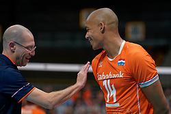 21-09-2019 NED: EC Volleyball 2019 Netherlands - Germany, Apeldoorn<br /> 1/8 final EC Volleyball / Nimir Abdelaziz #14 of Netherlands, Coach Roberto Piazza of Netherlands