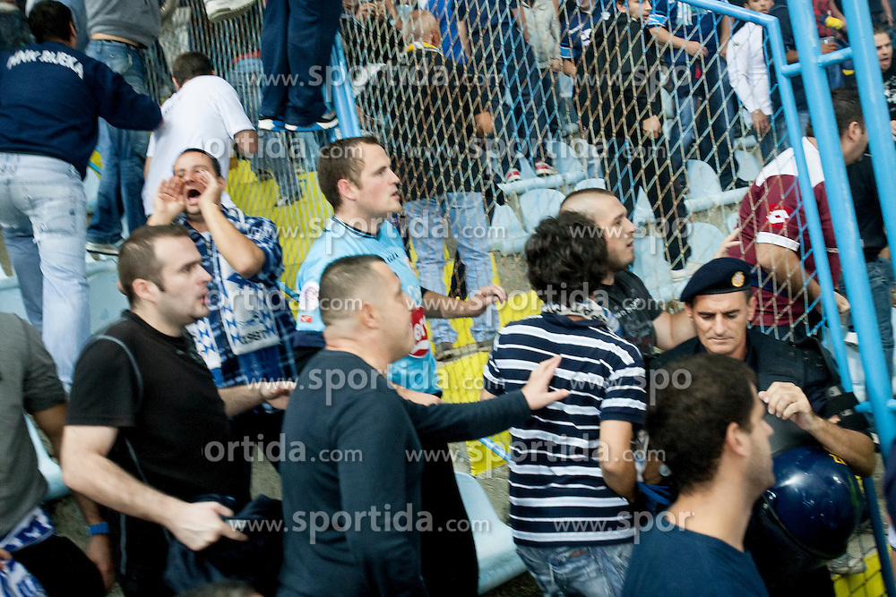 Armada, fans of HNK Rijeka during football match between HNK Rijeka and HNK Hajduk Split in 11th Round of Prva Hrvaska Nogometna Liga MaxTV 2013/14 on September 28, 2013 in Stadion Kantrida, Rijeka, Croatia. (Photo By Urban Urbanc / Sportida.com)