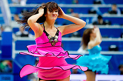 Cheerleaders Klaipeda University Dance Team (Zalgdance)  during basketball game between National basketball teams of Slovenia and Greece at FIBA Europe Eurobasket Lithuania 2011, on September 8, 2011, in Siemens Arena,  Vilnius, Lithuania. Greece defeated Slovenia 69-60.  (Photo by Vid Ponikvar / Sportida)