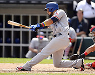 CHICAGO - JULY 01:  Robinson Chirinos #61 of the Texas Rangers bats against the Chicago White Sox on July 1, 2017 at Guaranteed Rate Field in Chicago, Illinois.  The Rangers defeated the White Sox 10-4.  (Photo by Ron Vesely) Subject:   Robinson Chirinos