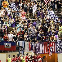 Orlando City Lions Midfielder Kevin Molino (18)  celebrates his goal against Newcastle United Goalkeeper Fraser Forester (21) during an International Friendly soccer match between English Premier League team Newcastle United and the Orlando City Lions of the United Soccer League, at the Florida Citrus Bowl on Saturday, July 23, 2011 in Orlando, Florida. Orlando won the match 1-0. (AP Photo/Alex Menendez)
