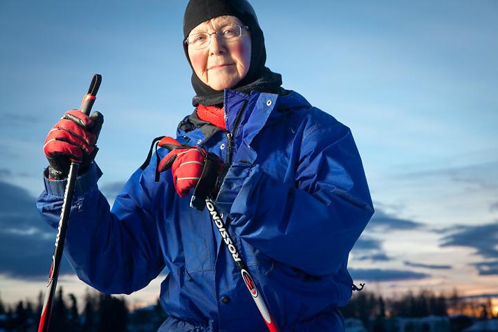 Retired teacher and cross country skier, Brenda McLaughlin, near Westchester Lagoon, Anchorage