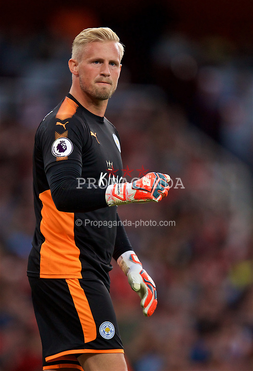 LONDON, ENGLAND - Friday, August 11, 2017: Leicester City's goalkeeper Kasper Schmeichel celebrates his side's second goal  during the FA Premier League match between Arsenal and Leicester City at the Emirates Stadium. (Pic by David Rawcliffe/Propaganda)