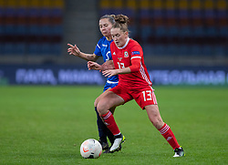 BARYSAW, BELARUS - Tuesday, October 8, 2019: Wales' Rachel Rowe (R) and Belarus' captain Anastasiya Shcherbachenia during the UEFA Women's Euro 2021 Qualifying Group C match between Belarus and Wales at the Borisov Stadium. (Pic by Kunjan Malde/Propaganda)