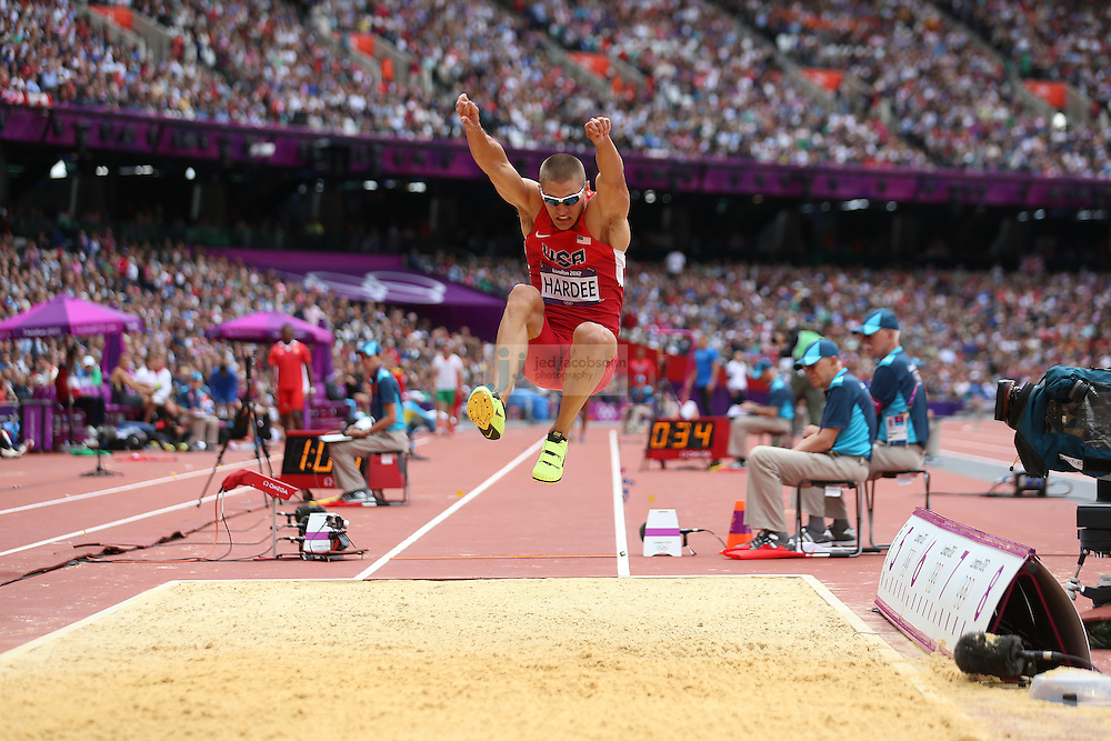 Trey Hardee of the USA jumps during the long jump portion of the decathlon during track and field at the Olympic Stadium during day 12 of the London Olympic Games in London, England, United Kingdom on August 8, 2012..(Jed Jacobsohn/for The New York Times)..