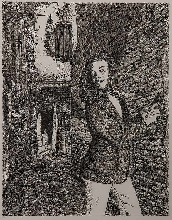SECRET AGENT BROOKE, ink drawing 1995