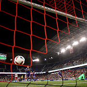 HARRISON, NEW JERSEY- APRIL 24: Mike Grella, (right), #13 of New York Red Bulls, beats goalkeeper Joseph Bendik #1 of Orlando City FC for New York Red Bulls first goal during the New York Red Bulls 3-2 victory in the New York Red Bulls Vs Orlando City MLS regular season match at Red Bull Arena, Harrison, New Jersey on April 24, 2016 in New York City. (Photo by Tim Clayton/Corbis via Getty Images)