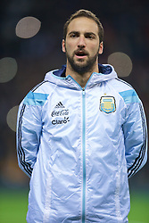 MANCHESTER, ENGLAND - Tuesday, November 18, 2014: Argentina's Gonzalo Higuain before the International Friendly match against Portugal at Old Trafford. (Pic by David Rawcliffe/Propaganda)