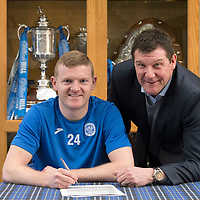 St Johnstone's Brian Easton and manager Tommy Wright pictured in the boardroom at McDiarmid Park after signing a two year contract extension....12.02.15<br /> Picture by Graeme Hart.<br /> Copyright Perthshire Picture Agency<br /> Tel: 01738 623350  Mobile: 07990 594431