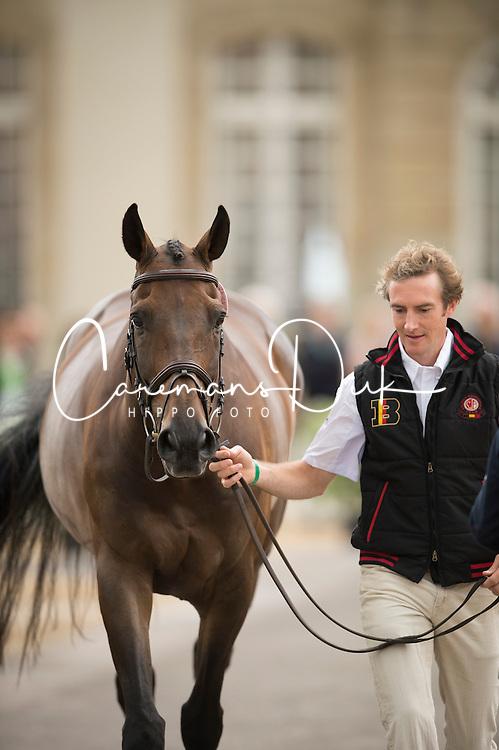 Constantin Van Rijckevorsel, (BEL), Goodwins Reef - First Horse Inspection  - Alltech FEI World Equestrian Games™ 2014 - Normandy, France.<br /> © Hippo Foto Team - Shannon Brinkman<br /> 25/06/14
