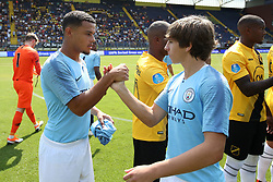 (L-R) Joel Latibeaudiere EDS Team Manchester City, Adrian Bernabe of EDS Team Manchester City during the Pre-season Friendly match between NAC Breda and EDS Team Manchester City at Rat Verlegh stadium on August 04, 2018 in Breda, The Netherlands