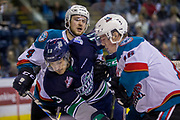 KELOWNA, CANADA - APRIL 30:  Gordie Ballhorn #4 of the Kelowna Rockets, Anthony Bishop #3 of the Seattle Thunderbirds, Kole Lind #16 of the Kelowna Rockets at the Kelowna Rockets game on April 30, 2017 at Prospera Place in Kelowna, British Columbia, Canada.  (Photo By Cindy Rogers/Nyasa Photography,  *** Local Caption ***