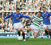 Steven Davis and Aiden McGeady battle for the ball during the League Cup final between Rangers and Celtic at Hampden Park -<br /> David Young Universal News And Sport